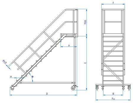 wartungsb hne alu stufenbreite 600 800 1000mm typ 513. Black Bedroom Furniture Sets. Home Design Ideas