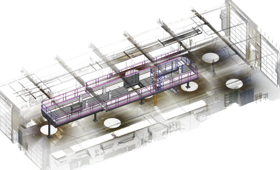 3D-scan of a hall with integrated drawing of the roof working platform